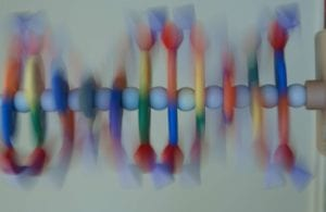 Modelo tridimensional del ADN. Imagen : Maggie Bartlett (National Human Genome Research Institute, www.genome.org)