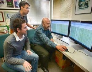 Matthew Schultz, Yupeng He y Joseph Ecker, tres de los autores del trabajo. Imagen cortesía del Instituto Salk de Estudios Biológicos.