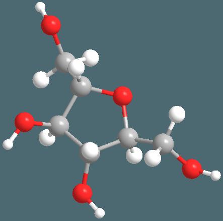 Estructura molecular de la fructosa. Imagen:  Alundra.