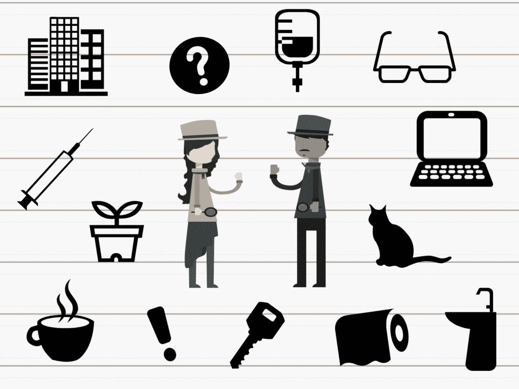 misterio, detectives, crimen, oficina, sangre